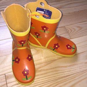 Girl's Orange Flower Garden Rain Boots Large NWT